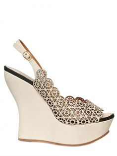 Nina Ricci 130mm Lasered Leather Open Toe Wedges