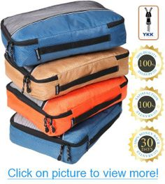 Packing Cubes - Best Organizers for Travel luggage, bags, carry on suitcase, accessories. SAVES TIME - be free to enjoy it. Smart small solution for tidy packing. Highly Durable value set with Rip Stop fabric, see through panel and YKK High Quality Zipper that never fail as in somebags on the market. PROTECT YOUR LUGGAGE AND CLOTHES - 4 PCS VALUE SET (Large or Medium) - 100% RISK FREE SATISFACTION GUARANTEE ! #Packing #Cubes #Best #Organizers #Travel #luggage #bags #carry #suitcase…