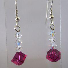Swarovski Crystals Fuchsia Dice Earrings by MoYuenCreations, $11.00