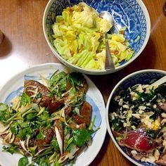 母親も退院して実家で - 40件のもぐもぐ - 黒豚レバーの香菜炒め焼き・初カツオの山掛け和え・納豆のキャベツ和え by Tarou  Masayuki