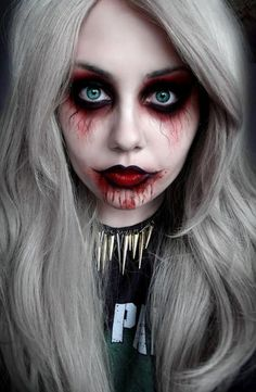 Excellent detailed spooky ghost makeup #halloween #makeup #womentriangle
