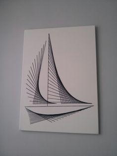 Canvas string art nautical boat minimalistic