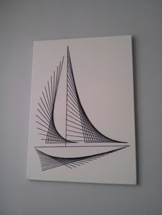 Canvas string art nautical boat minimalistic