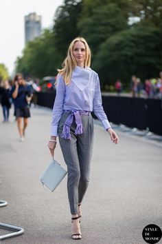 LFW SS15 #StreetStyle:  Lauren Santo Domingo put an unconventional play on pinstripes on display.