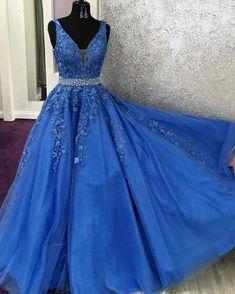V Neck Royal Blue Lace Graduation senior Prom dresses Long with Beading Belt - US 10 / As Photo Elegant Homecoming Dresses, Senior Prom Dresses, Blue Evening Dresses, A Line Prom Dresses, Quinceanera Dresses, Party Dresses, Prom Gowns, Pageant Dresses, Occasion Dresses