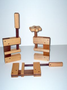 Wooden c-clamps.  Yes they work.