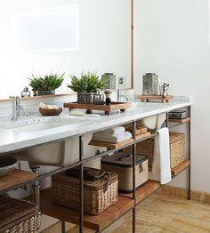 Beautiful Bathroom Vanities- Industrial Chic Bathroom Vanity with Open Shelves