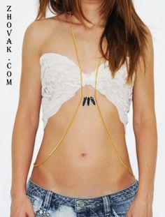 Body Chain Titanium Rainbow Quartz Body Jewelry Gold by zhovak, $15.00