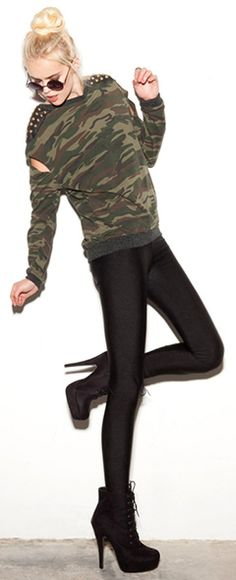 studded camo pullover.