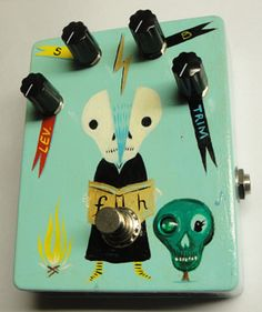 Quite like the way they have labeled the knobs on this hand-painted fuzz pedal