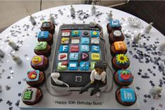 Sunil's iPhone birthday cake Plus Teenage Boy Birthday, Birthday Cake Girls Teenager, 13 Birthday Cake, Sweet 16 Birthday, Teen Cakes, Cakes For Boys, Girl Cakes, Cupcakes, Cupcake Cakes