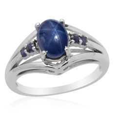 Liquidation Channel: Thai Blue Star Sapphire Diffused and Kanchanaburi Blue Sapphire Ring in Platinum Overlay Sterling Silver (Nickel Free)