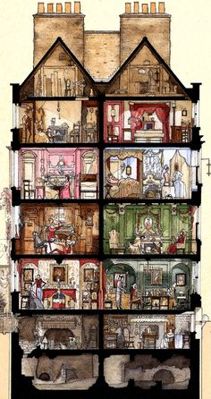 Cross Section of Dennis Severs House by Ben Rea whose first London exhibition A SLICE OF SPITALFIELDS, opens at the Severs Townhouse in Fournier St this Friday June and runs until July. Bd Design, House Illustration, London Illustration, Architecture, Illustrators, Fantasy Art, Cool Art, Concept Art, Art Drawings