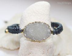 Druzy Macrame Bracelet WhiteJasper Quartz Grey by AmyJillDesigns,