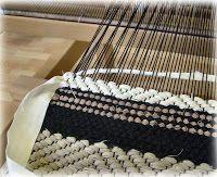 Trasmatta - looks like regular 4 shaft twill threading and a rag weft. pretty!