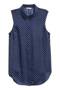 Mouwloze blouse - Donkerblauw/stippen - DAMES | H&M NL 1