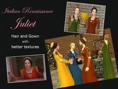 Italian Renaissance Hair and Gown for female by Renaissance Hairstyles, Renaissance Fashion, Italian Renaissance, 14th Century, Sims 2, Italian Style, Simple Style, Gowns, Female