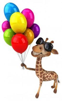 Giraffe Art, Cute Giraffe, Art Birthday, Birthday Wishes, Funny Animals, Cute Animals, 3d Foto, Balloon Illustration, Vintage Birthday Cards