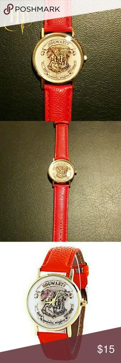 NWT Harry Potter Hogwarts Crest Wrist Watch, Red + Surprise freebies with every purchase! + NWT Brand new with tags, never worn. No need for a time turner! This unisex, analog, wrist watch will get every witch & wizard to classes on time, as well as show off their school spirit. The round face is 35 mm in diameter and features a vibrantly colored Hogwart's Crest on a white background. Gold-toned metal surrounds the case and the buckle clasp. The leather band is a glorious Gryffindor Red and…