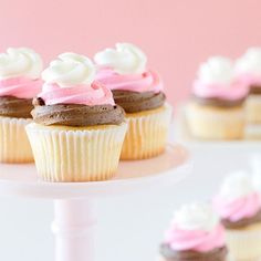 Neapolitan Cupcakes oh so pretty easy and crazy good! Treat yo'self! (link to my recipe in profile)