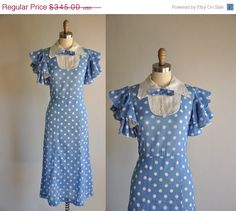 Vintage rare early 1930s cotton polka dot print frock.
