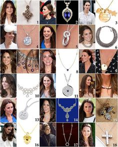 Necklaces seen on the Duchess since her engagement: 1: A Buddhist symbol necklace gifted to Kate by Queen Jetsun of Bhutan earlier this year. It is a custom-made gold & diamond 'Endless Knot' necklace by Sonam Rabgye. 2: G. Collins & Sons Diamond and Tanzanite Pear Pendant with matching earrings. £8,400/$12,300 3: Merci Maman Charm Necklace given to Kate for George's birth. The gold plated piece features engraved 'George Alexander Louis' as well as a heart with 'W'. £79/$129 4: Cushion Cut…