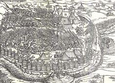1541 Erhard Schoen Belagerung von Budapest (Siege of Budapest) DETAIL.  Interesting to note the battlement of barrels around this camp.