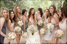 Source: via Belle the Magazine   Mismatched neutral bridesmaid dresses #wedding #neutrals #bridesmaids