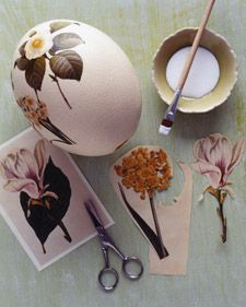 Oversize Botanical Decoupage Easter Eggs from Martha Stewart