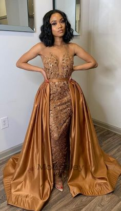 long prom dresses - Luxurious Gold Long Evening Dress with Train from modseleystore African Prom Dresses, African Wedding Dress, African Fashion Dresses, African Dress, Dress Fashion, Gold Fashion, Fashion Jewelry, Women's Fashion, Elegant Dresses