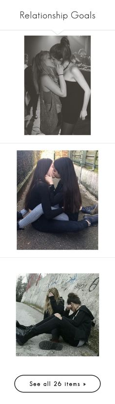 """Relationship Goals"" by pyrokittenkat ❤ liked on Polyvore featuring lesbian, black and white, pictures, pics, people, couples, home, home decor, felice fawn and text"