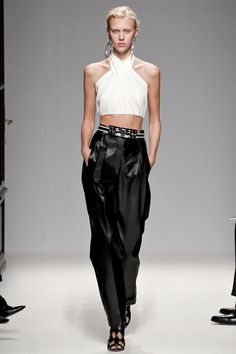 SPRING 2013 READY-TO-WEARBalmain. Intricate leather pants with simple twisted top