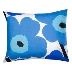 Unikko pillow case, White/Blue, Marimekko