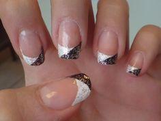 black & white glitter french nail art