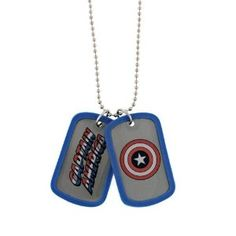 Marvel Comics Captain America Blue Shield Double Dog Tag ID Ball Shotbead Necklace - Red, White, and Blue and Retro Cool! - the first and most patriotic Avenger!