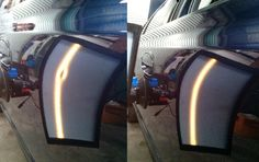 One of the jobs done today was the repair of a nasty sharp dent in the door of a Ford Fairmont. The end result using Paintless Dent Repair…