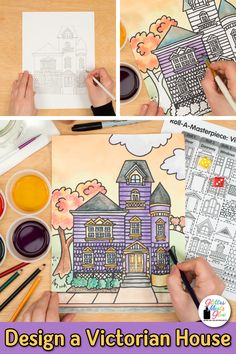 Need an engaging Victorian House art lesson middle school students will love? Try this Fall inspired architecture lesson using colored pencils Art Games For Kids, Art Lessons For Kids, Fall Art Projects, Projects For Kids, Middle School Art, Art School, Habits Of Mind, Art History Lessons, Art Teachers