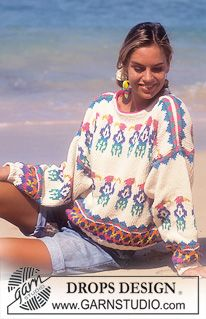 """DROPS jumper with parrot pattern in """"Paris"""". Knitting Patterns Free, Free Knitting, Free Pattern, Crochet Patterns, Lucy Fashion, Girl Fashion, Drops Design, Crochet Girls, Knit Crochet"""