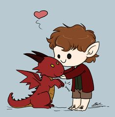 Animated - Chibi Bilbo and Smaug by caycowa.deviantart.com on @deviantART
