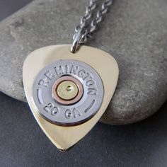 Shiney Brass Guitar Pick Stainless Steel Necklace