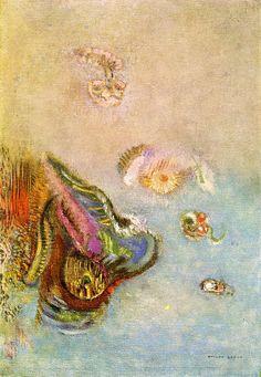 Animals of the Sea via Odilon Redon Size: 35.56x24.13 cm Medium: oil on canvas