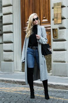Meagan Brandon fashion blogger shows how to wear a maxi cardigan, long cardigan with over the knee boots outfit