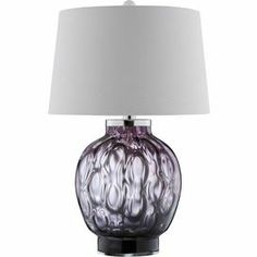 """Table lamp with a textured purple glass base.   Product: Table lampConstruction Material: Glass, metal and fabricColor: Purple and whiteFeatures: 3-Way switchAccommodates: (1) 150 Watt bulb - not includedDimensions: 28"""" H x 16.5"""" DiameterCleaning and Care: Clean with a damp cloth"""