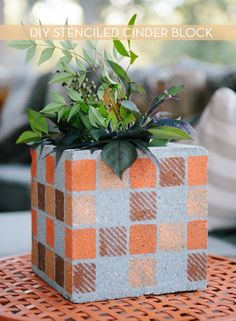 Make It: Stenciled Concrete Vases Set The Tone For Autumn » Curbly | DIY Design Community