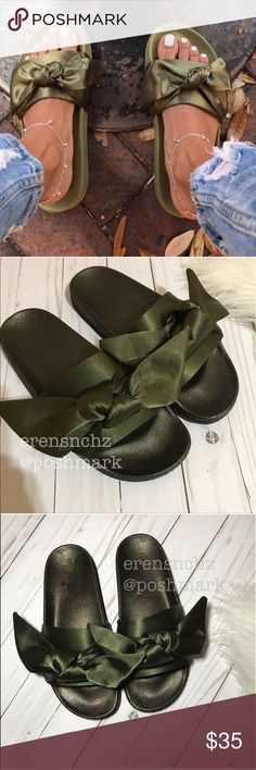 """Olive Green Bow Slide Sandal Size 6 Bow Slide Sandal Rihanna Inspired    This cute slide sandal features a wide band across vamp with knotted bow trim, lug sole, and molded footbed. Easy slip-on style.  Material: Satin (man-made) Sole: PVC  Heel Height: 1"""" (approx)   Similar styles seen on: Kim Kardashian Kylie Jenner Khloe Kardashian Kourtney Kardashian Kendall Jenner Karrueche Tran Chrissy Teigen India Love Shoes Sandals"""