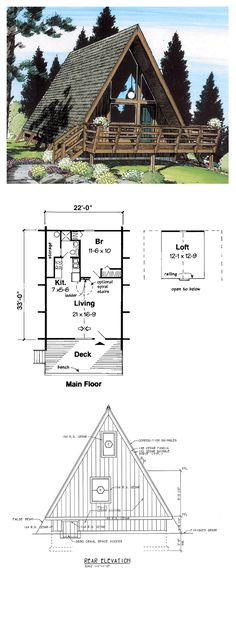 A Frame House Plan 24308 | Total Living Area: 823 sq. ft., 1 bedroom & 1…