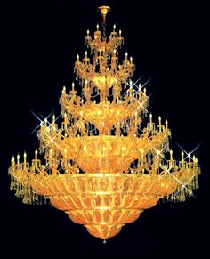 Diameter 280 cm Large crystal chandelier in gold plated finish - Large crystal chandeliers Large Chandeliers, Crystal Chandeliers, Large Crystals, Lamp Light, Bulb, It Is Finished, Ceiling Lights, Lamps, Lighting