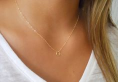 Gold Filled Necklace with A Tiny Textured Ring by annikabella