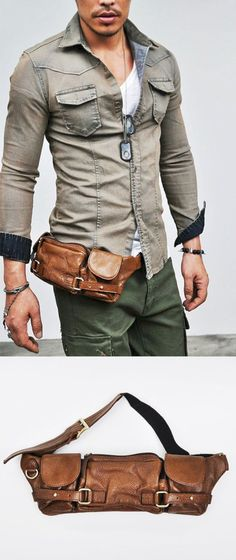 Accessories :: Bags :: Multi-compartments Leather Hipsack-Bag 92 - Mens Fashion Clothing For An Attractive Guy Look leather clothing accessories Vintage watches and accessories from a real collector by GAALco Fashion Mode, Fashion Outfits, Fashion Shirts, Hipster Fashion, Cheap Fashion, Fashion Boots, Leather Accessories, Fashion Accessories, Mode Man