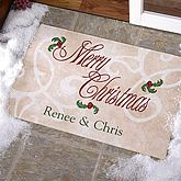 'Tis The Season Personalized Doormat. Extend a warm welcome to holiday visitors with our elegant Tis' The Season Custom Doormat! Choose from our 2 Holiday greetings, then we'll delicately print any family name or individual name(s) below our unique holiday artwork for an impressive, personal touch!. Price: $28.95